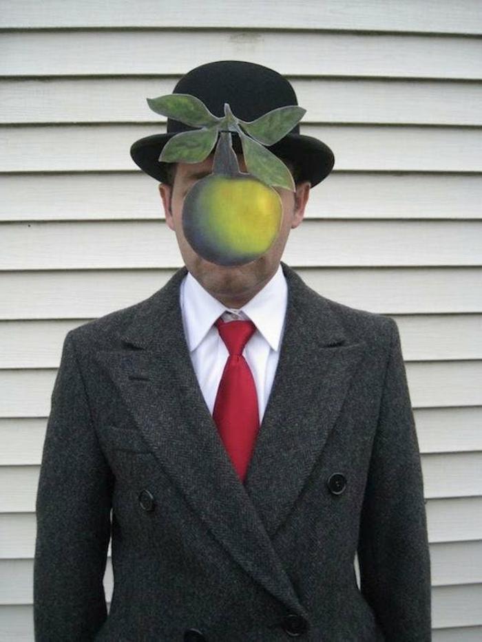 disfraces caseros, disfraz de hombre, gorro con manzana de rene magritte