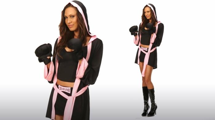 disfraces originales caseros, disfraz sexy para mujer, boxeadora en negro y rosa