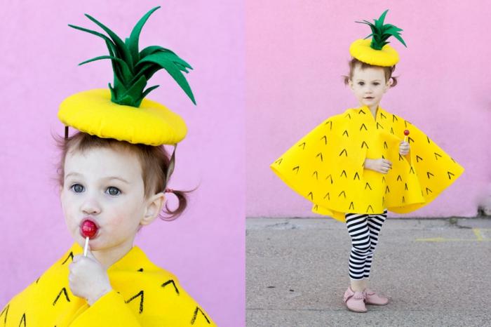 disfraces faciles de hacer, disfraz piña para niño con capa y gorro