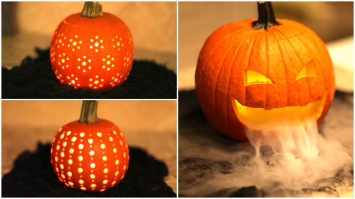 como hacer una calabaza de Halloween, calabazas talladas iluminadas, cara coon humo