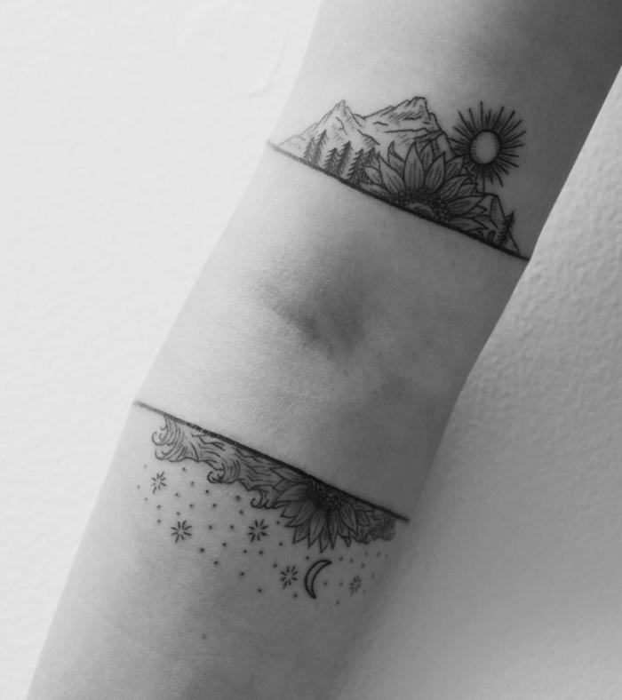 tatuajes antebrazo, tatuaje mujer paisaje de día y noche, pligue del codo