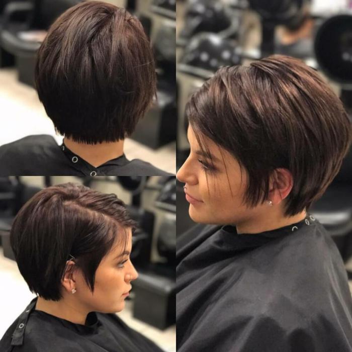 corte de pelo a capas, mujer de perfil con piercing, pelo corto estilo pixie