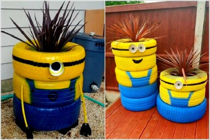muebles reciclados, llantas de coche pintados como miniones con pelo de plantas
