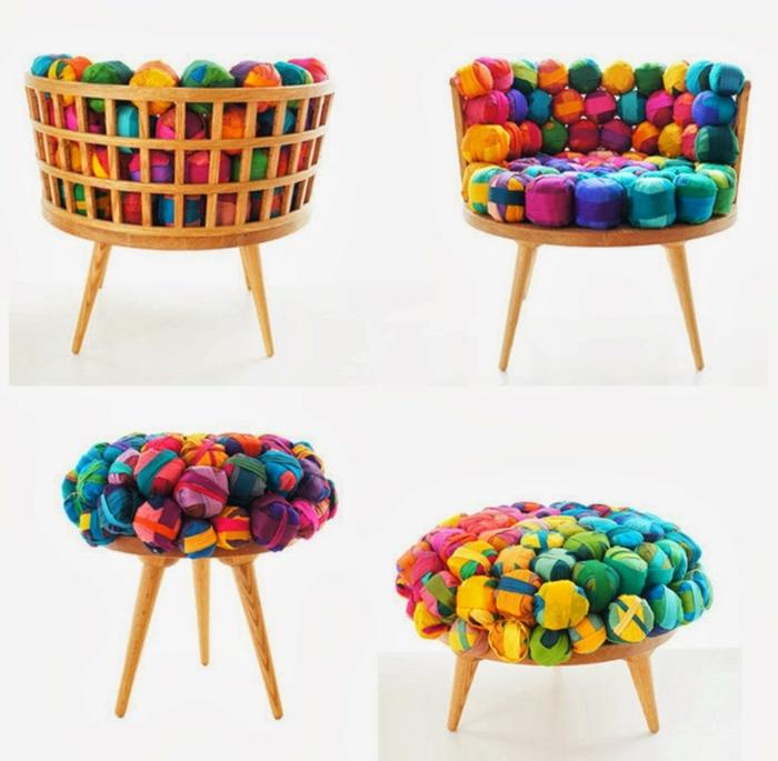 restaurar muebles, silla y otomana de madera tapizados con bolas de tejido en diferentes colores