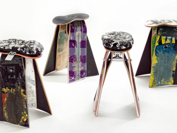 muebles reciclados, sillas modernas de monopatines reciclados