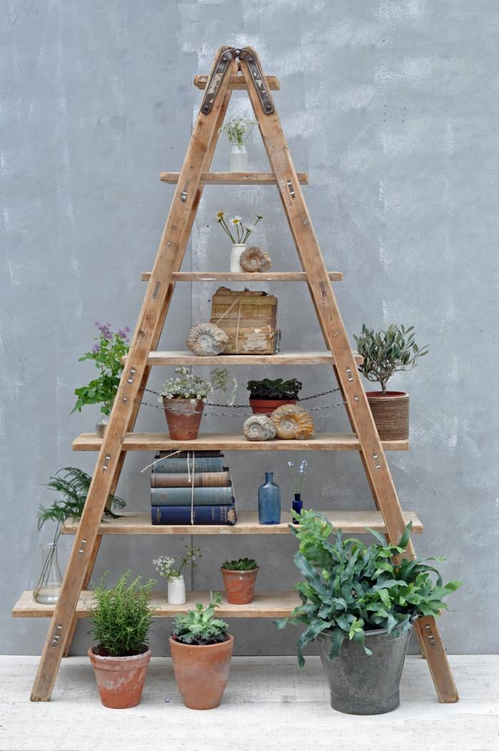 restaurar muebles, estanteria decorativa de escalera viejs con caracoles, plantas y libros