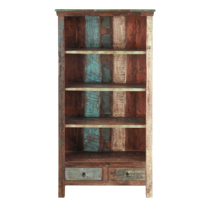muebles reciclados, estantería de madera reciclada y pintada con cajones
