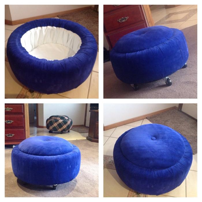 muebles reciclados, otomana tapizada en azul con ruedas hecha de llanta de coche