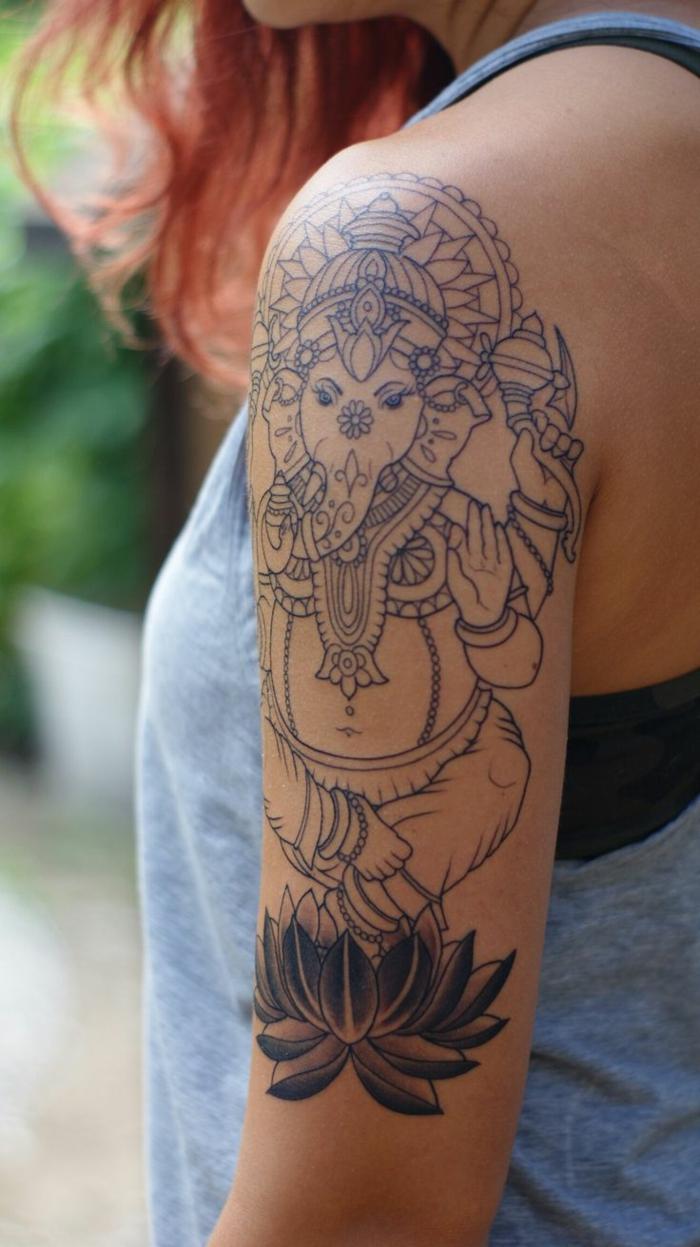 imagenes de tatuajes, mujer con tatuaje de elefante con motivos de mandala