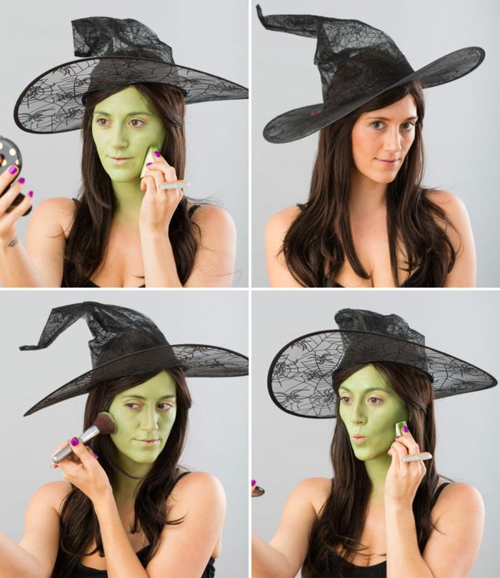 maquillaje de bruja, como conseguir la apariencia de una hechicera clásica, piel en verde, paso a paso