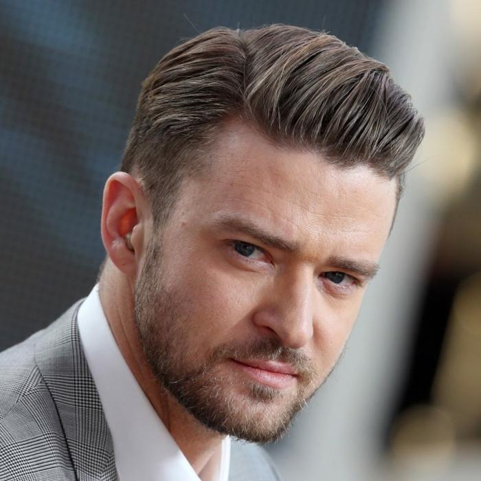 peinados hombre, Justin Timberlake, corte un poco degradado, pelo castaño claro con barba ligera