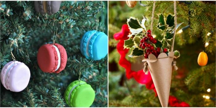 decoración navideña, adorno para colgar en el árbol, macarons en diferentes colores