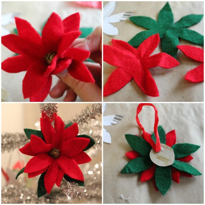 motivos navideños, flores de tejido, hechas a mano