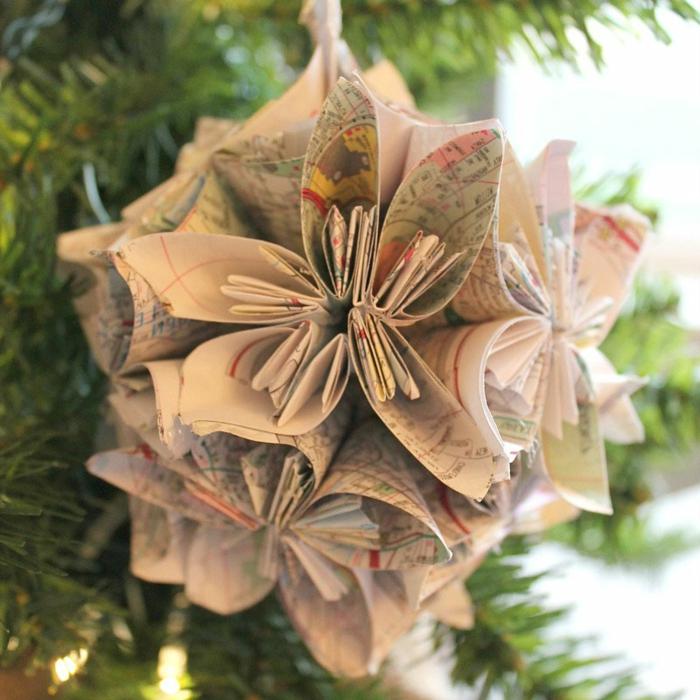 manualidades navidad, elemento para el árbol, papel reutilizada