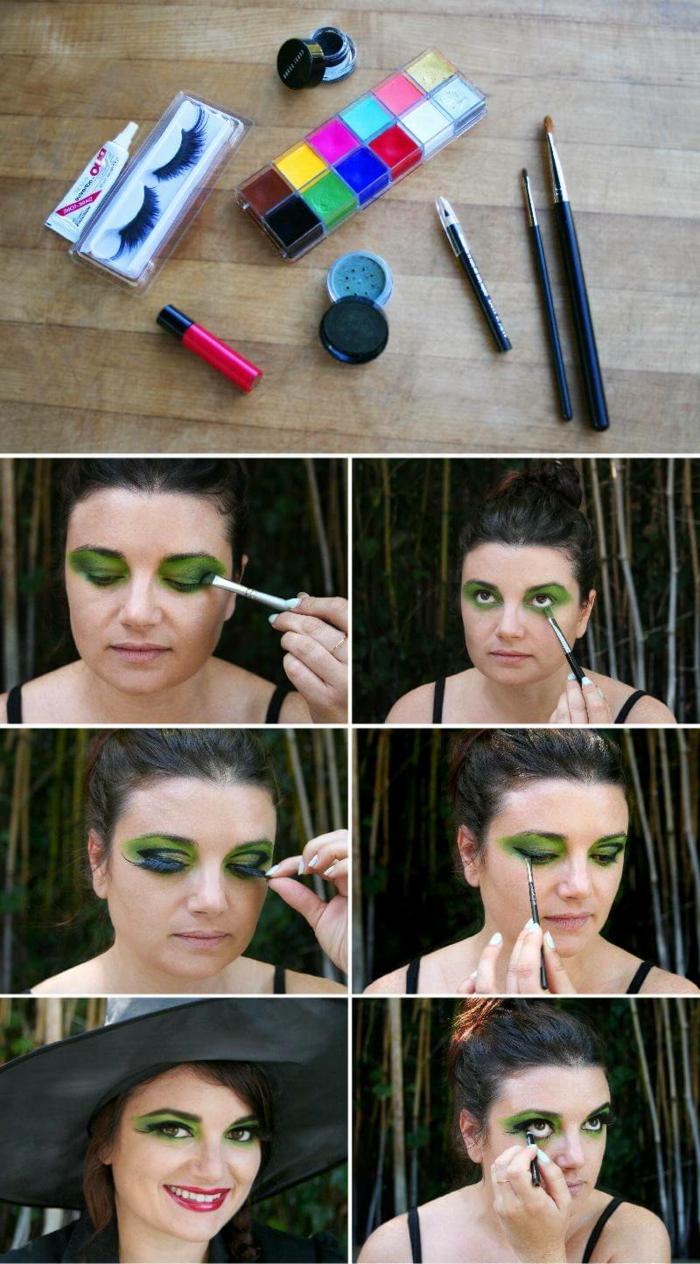 maquillaje de bruja, materiales y instrucciones para maquillarte de bruja, ojos con sombras verdes y pestañas postizas en negro