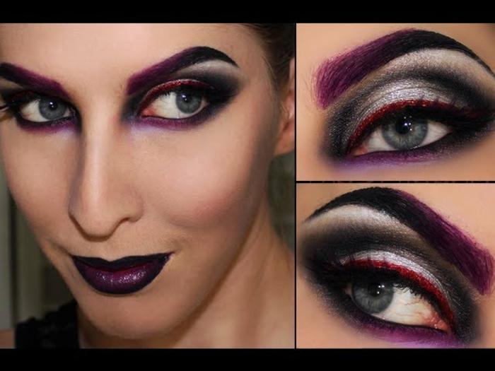 maquillaje de bruja, mirada dramática, ojos resaltados, en colores oscuros, gama lila, cejas pintadas en morado