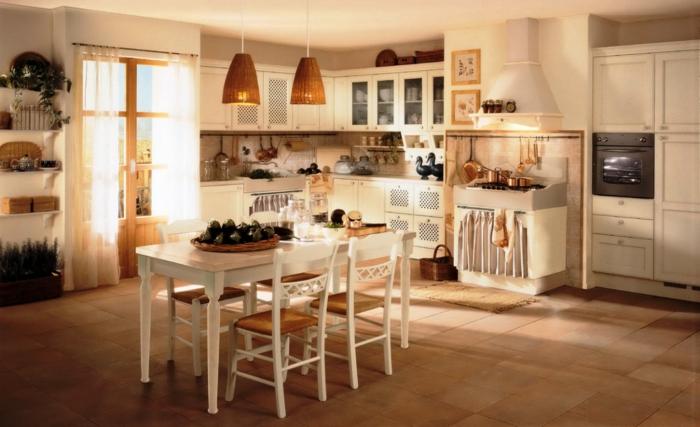 cocinas rusticas modernas, cocina en blanco, horno con cortina, mesa y ventanal, suelo de baldosas
