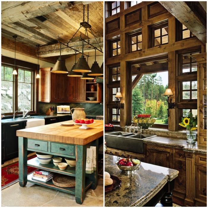 cocinas con encanto, dos propuestas de cocina rústica con techo con vigas e islas