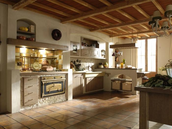 cocinas modernas pequeñas, cocina rústica con isla y suelo de baldosas, techo con vigas