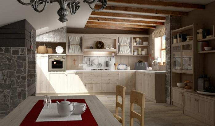cocinas vintage, cocina con rayo de sol, amdera clara, mesa con tetera y techo con vigas