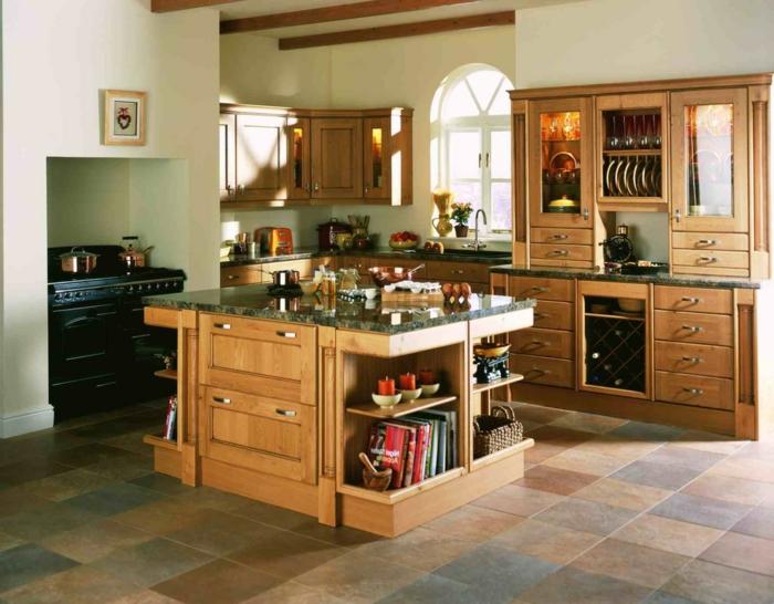 cocinas rusticas de obra, cocina de madera con isla cuadrada, suelo de baldosas, libros y candelas