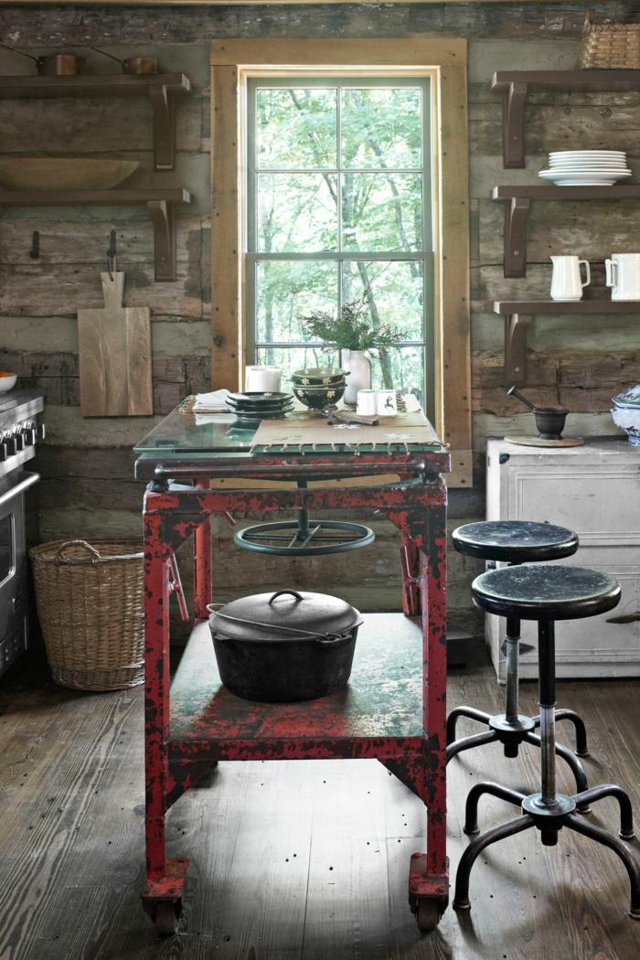 1001 ideas de cocinas rusticas c lidas y con encanto - Mesa cocina vintage ...