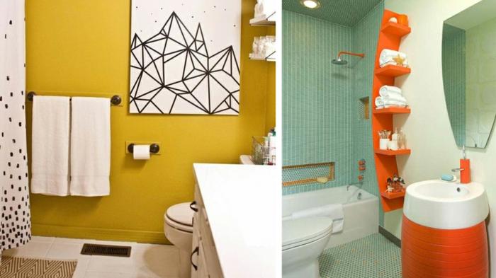 baños pequeños modernos, colores alegres, estantes empotrados, color naranja