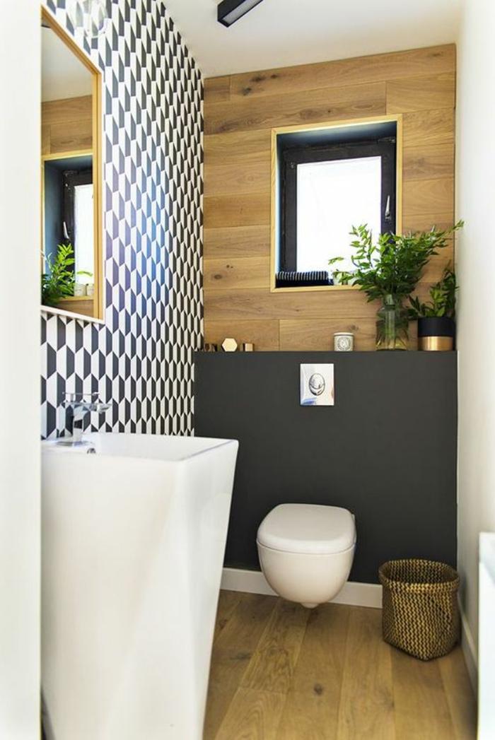 baños pequeños modernos, cubo de basura decorativo, parquet color claro