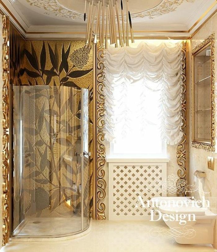 baños pequeños modernos, estilo neo-baroque, paredes doradas