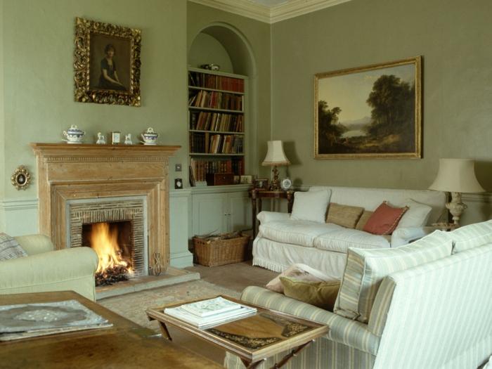 salones modernos, salon rustico en colores claros, chimenea, sofá blanca, librería y cuadro