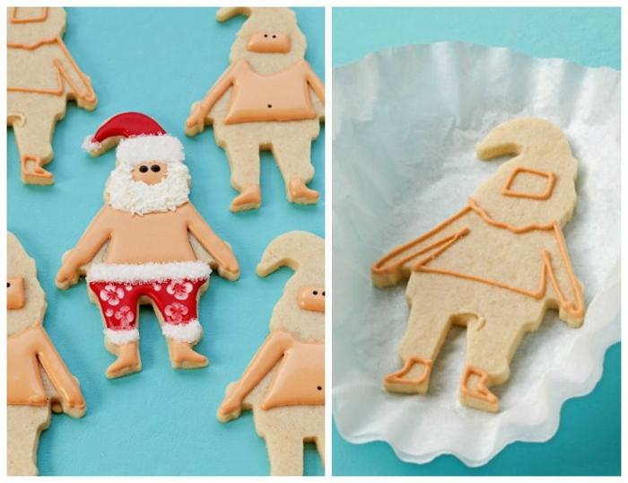 manualidades de navidad faciles, galletas con ornamentos, papa noel hawaiano