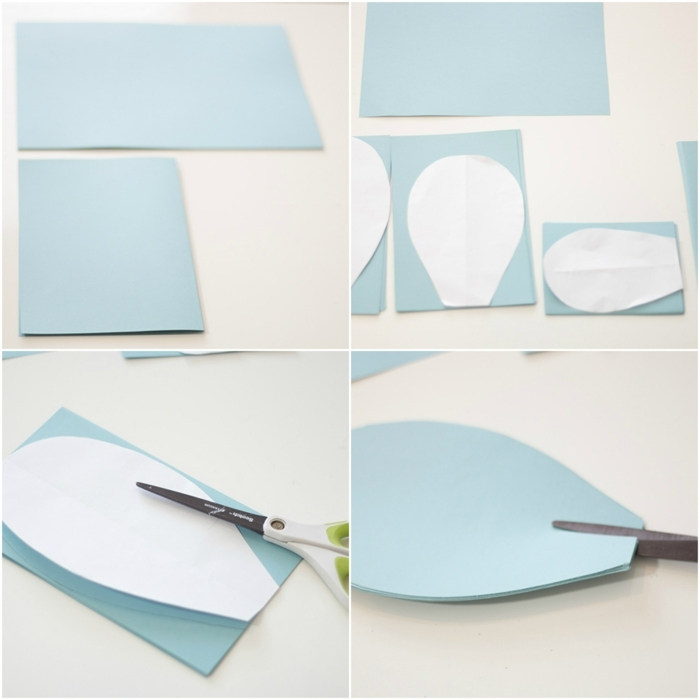 flores de papel, tutorial para hacer flores de cartulina azul claro