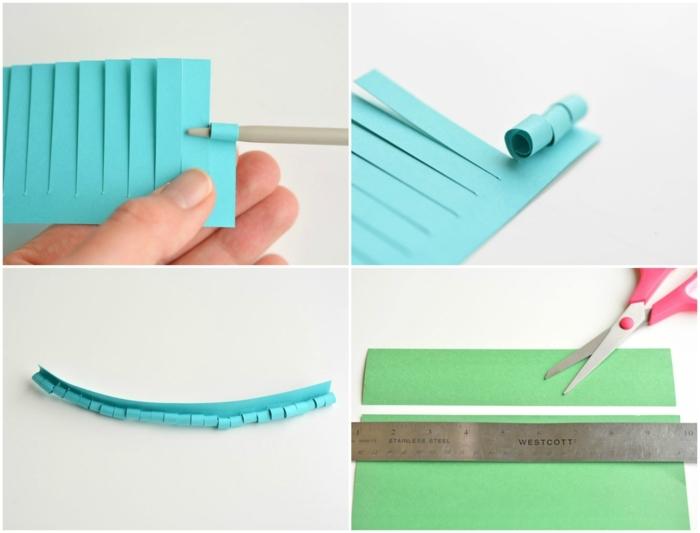 flores de papel, papel verde y azul, tijeras y regla para hacer flores de papel