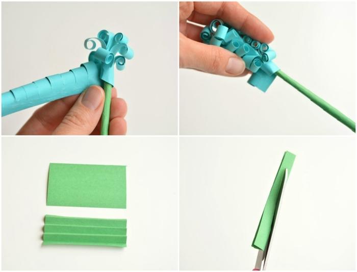 flores de papel, instrucciones para hacer jacinto de papel azul y verde