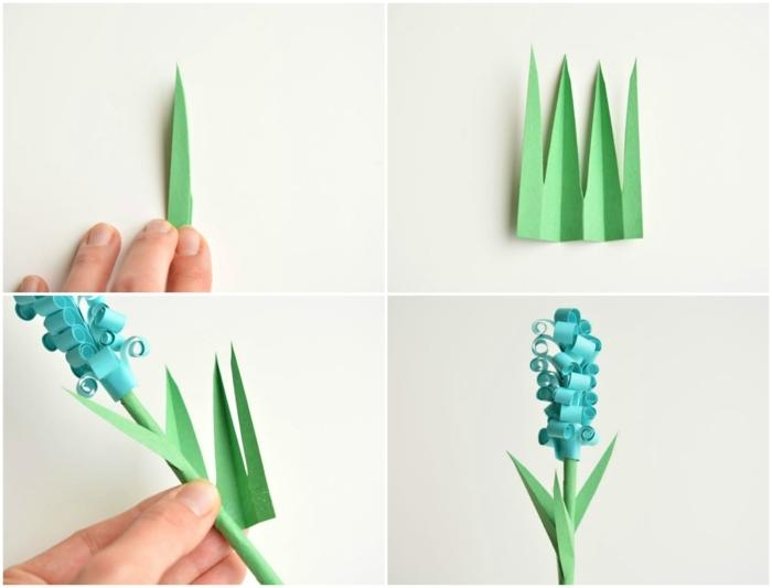 flores de papel, tutorial para hacer jacinto de papel con hojas verdes