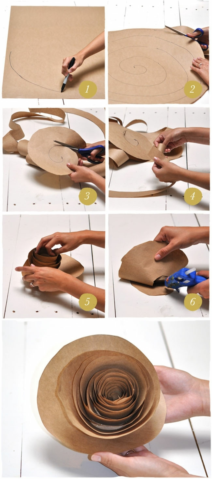 manualidades con papel, tutorial para hacer rosas de papel artesanal con pistola encoladora y tijeras