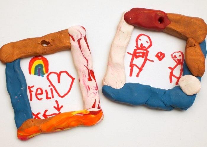 manualidades sencillas, dibujos infantiles. decoración de plastilina