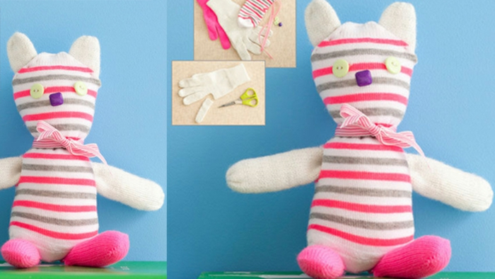 manualidades sencillas, como hacer muñecos de ropa usada, gato de trapos