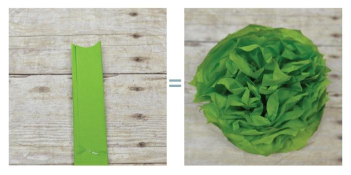 flores de papel paso a paso, como cortar el papel para obtener flor verde de papel