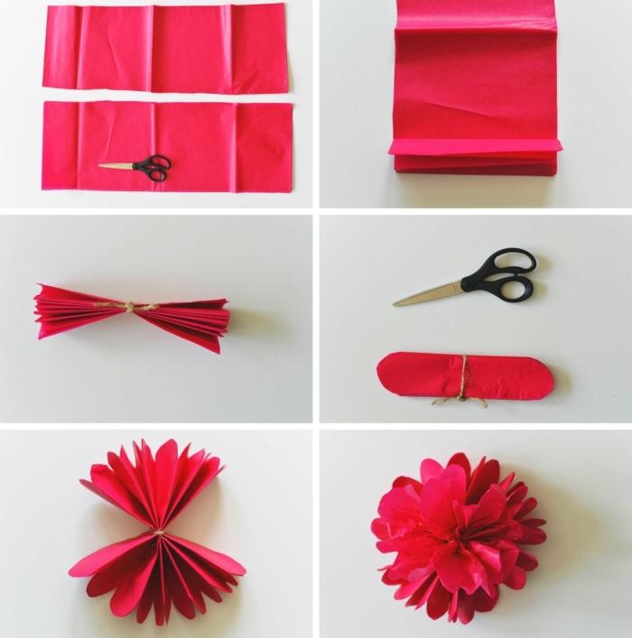 flores de papel paso a paso, tutorial para hacer rosas de papel de seda rojo con tijeras