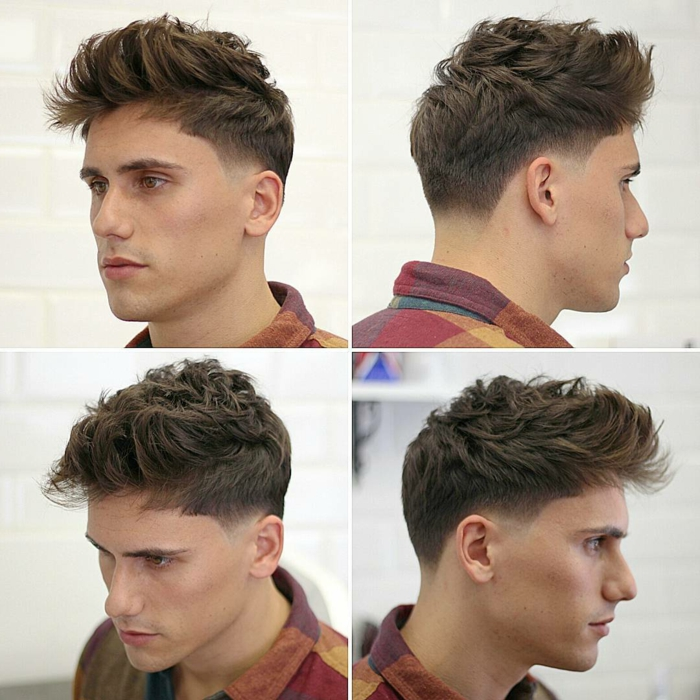 degradado hombre, corte de pelo tipo tupé, pelo rizado y espeso, sienes más cortos