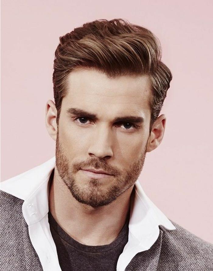 peinados pelo corto hombre, corte clásico, cabello pelirrojo, pelo ladeado, barba corta con bigotes