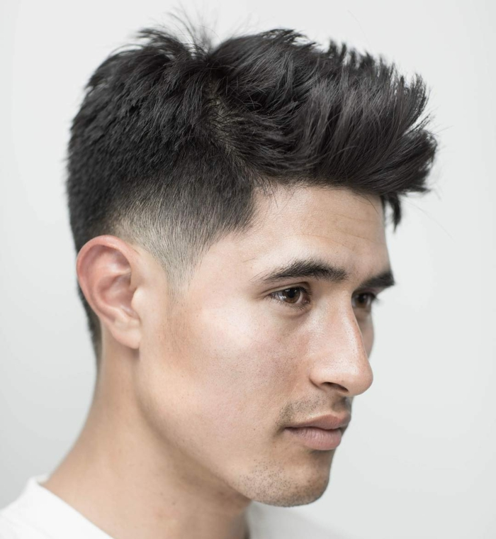 cortes de pelo hombre 2018, peinado asimétrico, efecto de múltiples capas, cabello negro voluminoso