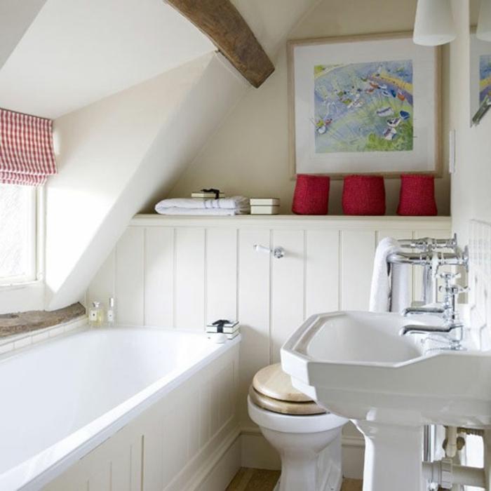 reformar baño, accesorios para un baño acogedor, acentos color rojo