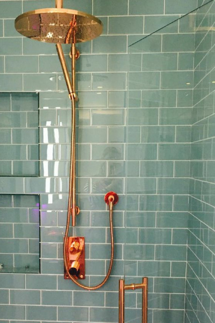como decorar un baño, colores contrastes, ducha grande y moderna