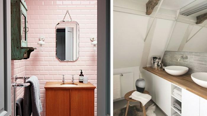 como decorar un baño, conseguir aspecto vintage, azulejos color rosa