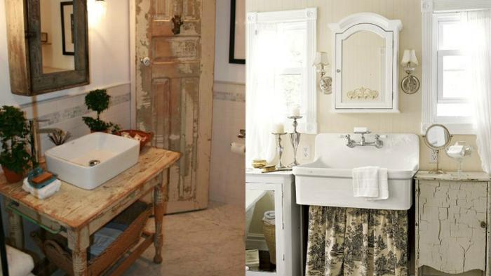 reformas de baño, pinturas vintage, colores claros, muebles de madera