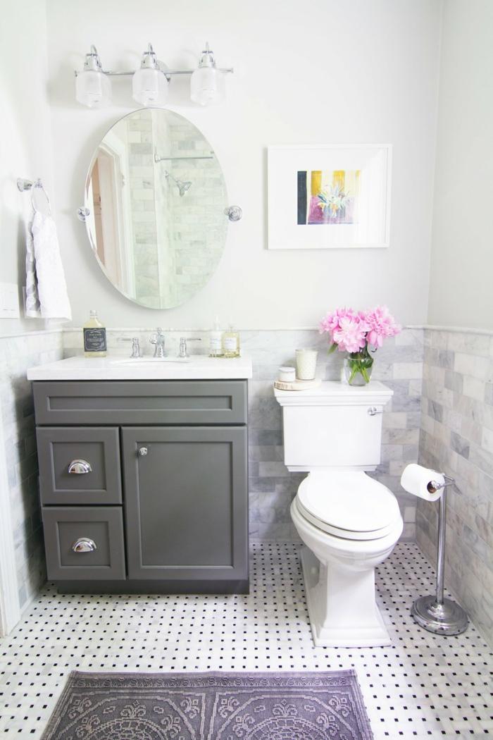 cuartos de baño modernos, baño blanco, estilo simple, armario gris