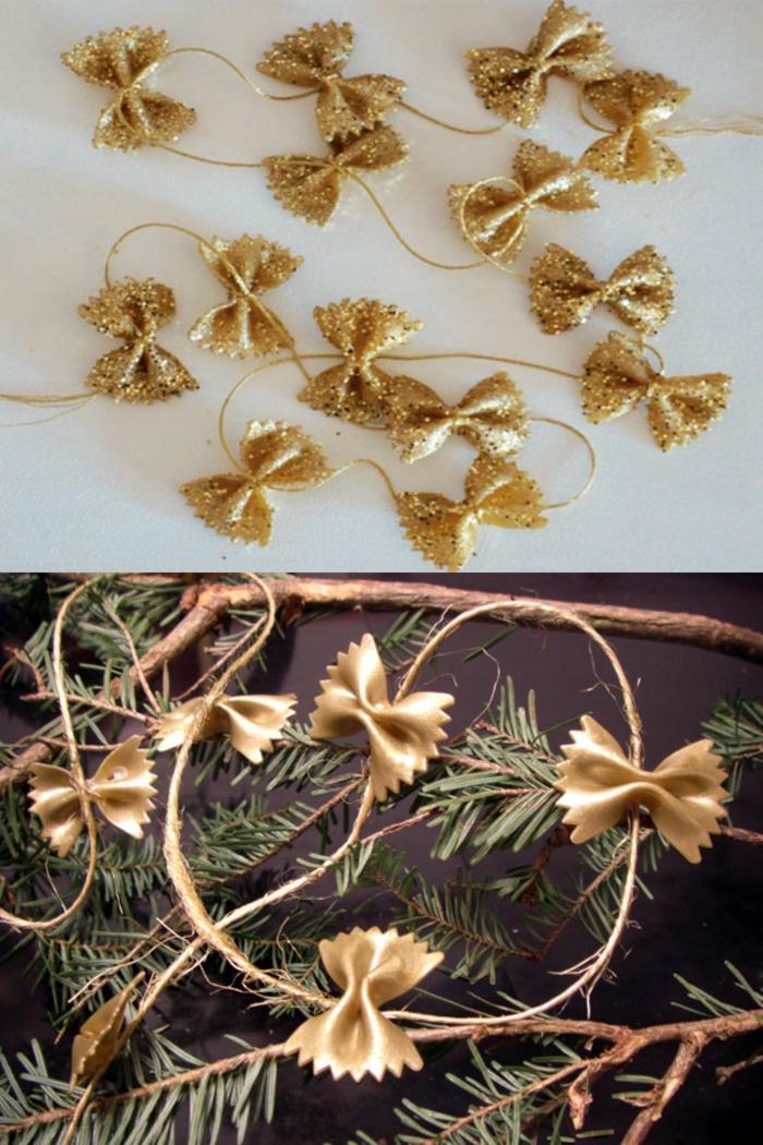 adornos de navidad, pequeños moños dorados