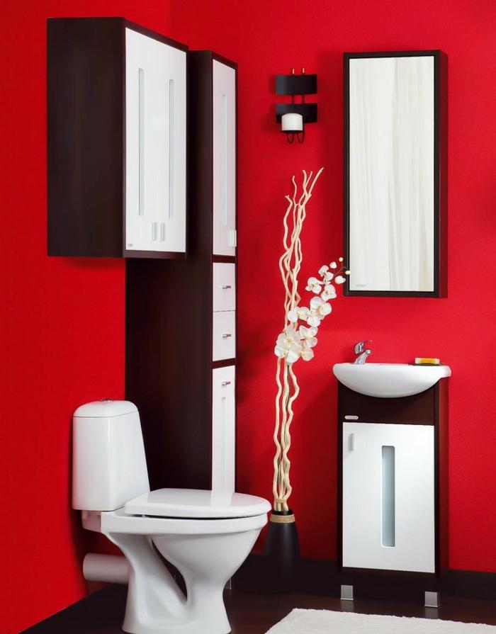 baños pequeños, rojo brillante, estilo minimalista, armarios grandes